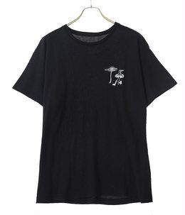 Printed Cotton Cash T-Shirt S/S BLACK ADAMS `MAGIC MUSHROOM`
