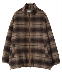 ALPACA WOOL SHAGGY CHECK TRACK JACKET