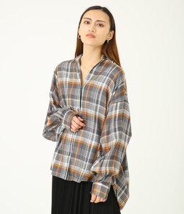 【レディース】Tencel Check Regular Collar Big Sleeve Shirt