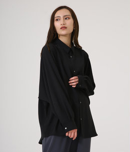 【レディース】Matte Satin Regular Collar Big Sleeve Shirt