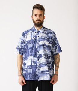 "SLUB COTTON BROAD S/S OPEN SHIRT ""WASHINGTON D.C."""