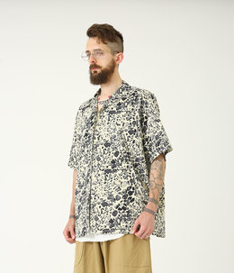 TILE LEOPARD COTTON SLAB S/S OPEN SHIRT