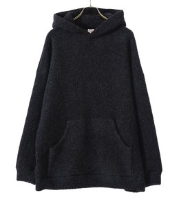 BOUCLE WOOL KNIT BIG POCKET PULLOVER PARKA