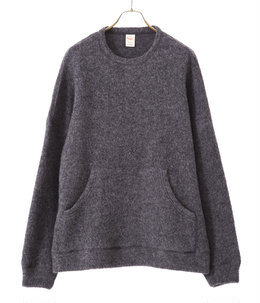 BOUCLE WOOL KNIT BIG POCKET CREW NECK