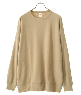 LIGHT WEIGHT BOUCLE WOOL KNIT CREW NECK