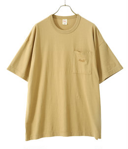 "40/2 LIGHT SUVIN COTTON S/S WIDE T-SHIRT ""gold""EMB'D"