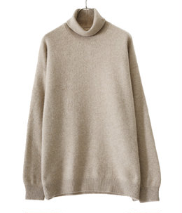 PURE CASHMERE KNIT OFF-TURTLE NECK PULLOVER