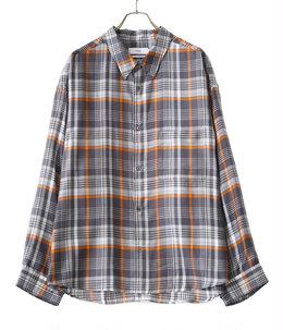 Tencel Check Regular Collar Big Sleeve Shirt