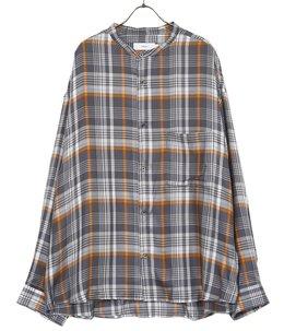 Tencel Check Band Collar Big Sleeve Shirt