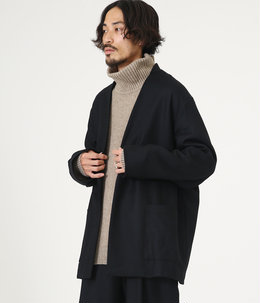 LAPELLESS SHIRT JACKET - wool soft serge -