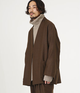 【予約】LAPELLESS SHIRT JACKET - wool soft serge -