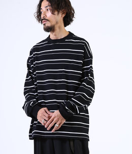 BORDER TEE L/S - 30/2 combed knit border -