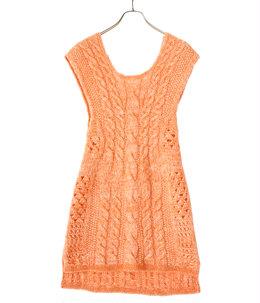 【レディース】Multi-Pattern Cable Sleeveless Knitted Vest
