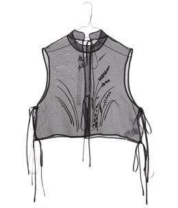【レディース】Floral Jacquard Sheer Vest