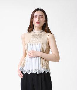 【レディース】Curtain Motif Knitted Vest