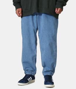 Webbing Belt Denim Wide Tapered Pants