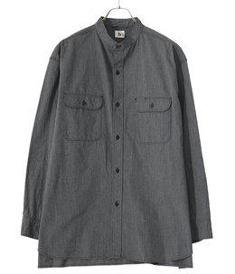Classic Chambray Band Collar Work Shirt