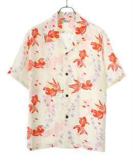 "S/S  HAWAIIAN SHIRT ""GOLD FISH WITH LUCK"""