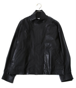 OVER SLEEVE FAKE LEATHER JACKET