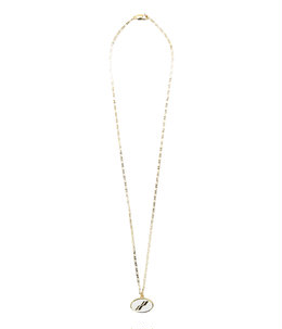 GOLD & WHITE OVAL LOGO NECKLACE