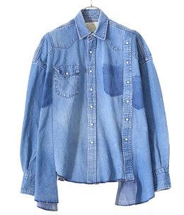 【別注】circa make double placket wide denim western shirt