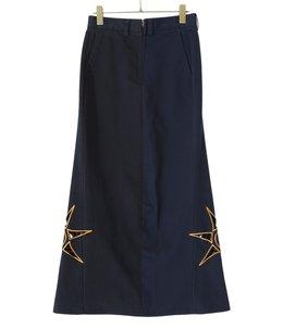 【予約】circa make batik pattern embroidely khaki trousers skirt