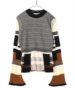 【レディース】Mixed Knitted Fabric Peplum Pullover